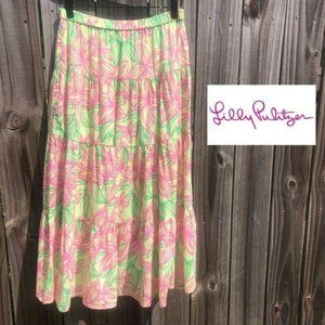 Lilly Pulitzer Floral Midi Skirt XS